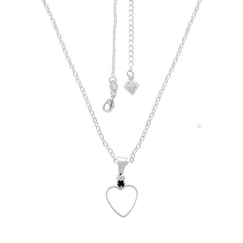Gargantilha folheada a prata e pingente em forma de coração vazado com strass