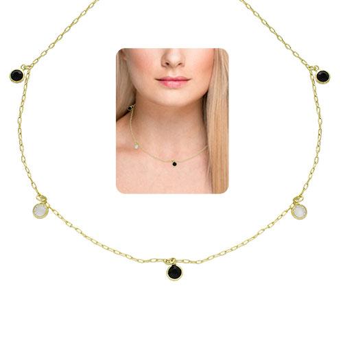 Gargantilha Tiffany Inspired folheada a ouro com pedras na cor cristal e preta