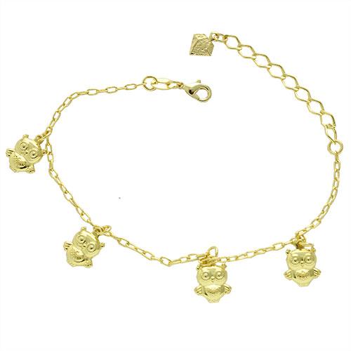 Pulseira folheada a ouro com pingentes em forma de coruja