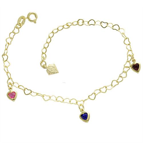 Pulseira folheada a ouro com pingentes em forma de coração com pedras coloridas