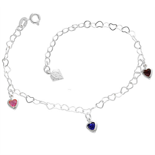 Pulseira folheada a prata com pingentes em forma de coração com pedras coloridas
