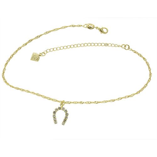 Tornozeleira folheada a ouro com pingente em forma de ferradura com strass