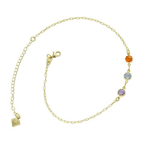 Tornozeleira folheada a ouro com pingentes em forma de flor com pedras coloridas