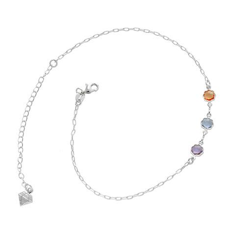Tornozeleira folheada a prata com pingentes em forma de flor com pedras coloridas